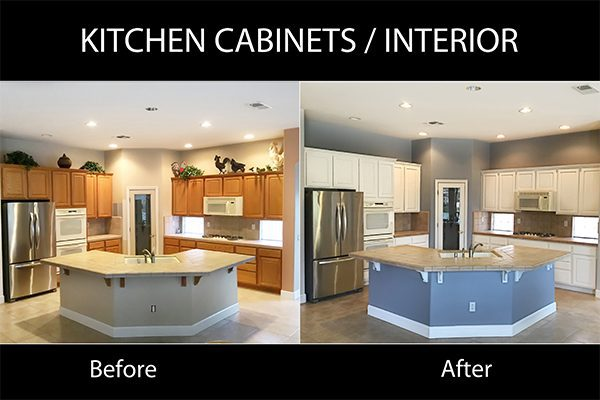 Before and After Kitchen Cabinet Painting Vineyard CA